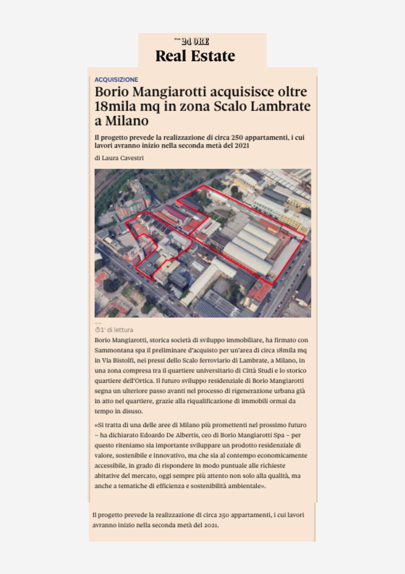 Bistolfi, Borio Mangiarotti acquisisce da Sammontana 18.000 mq in zona Lambrate a Milano