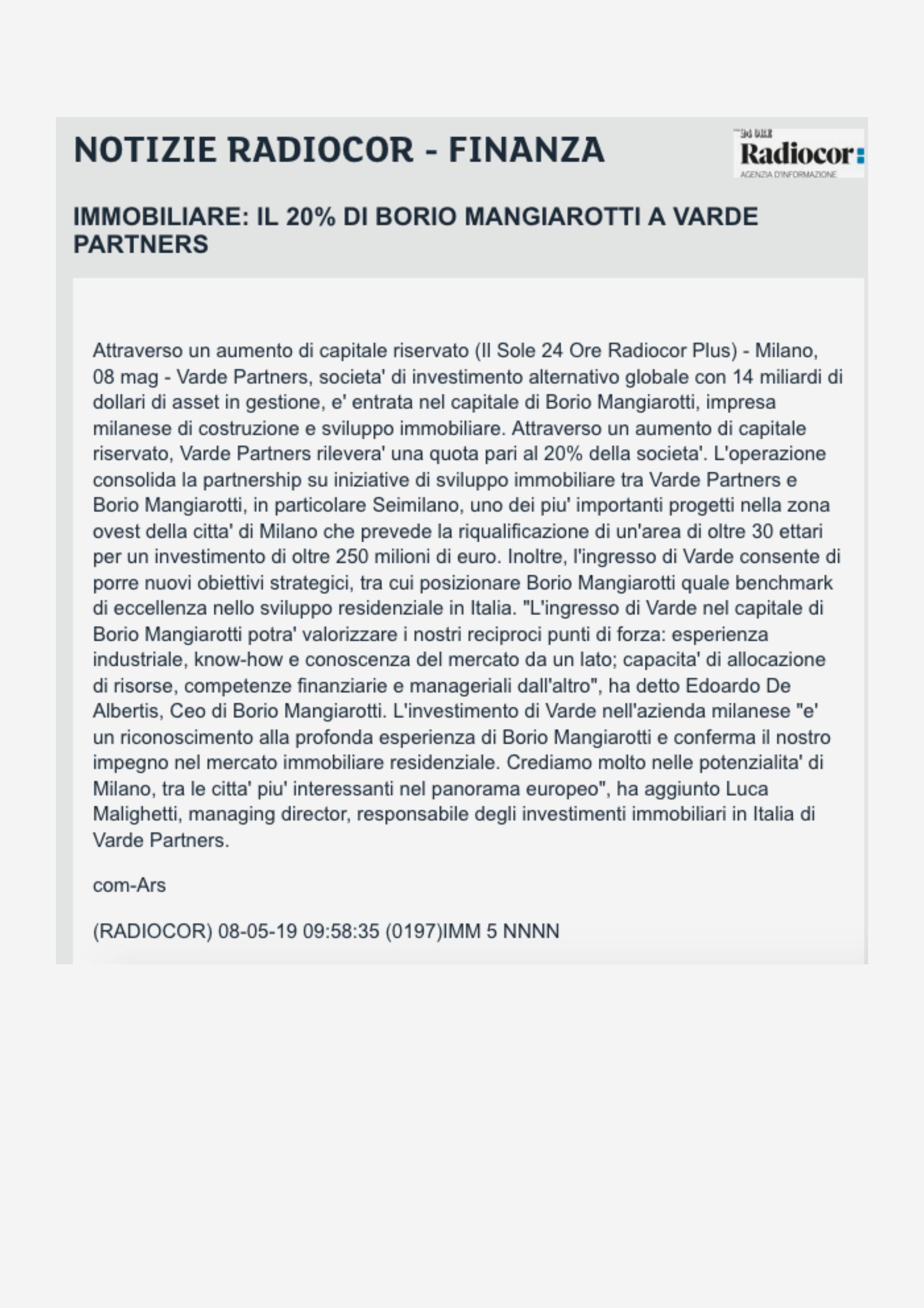20% di Borio Mangiarotti a Varde Partners