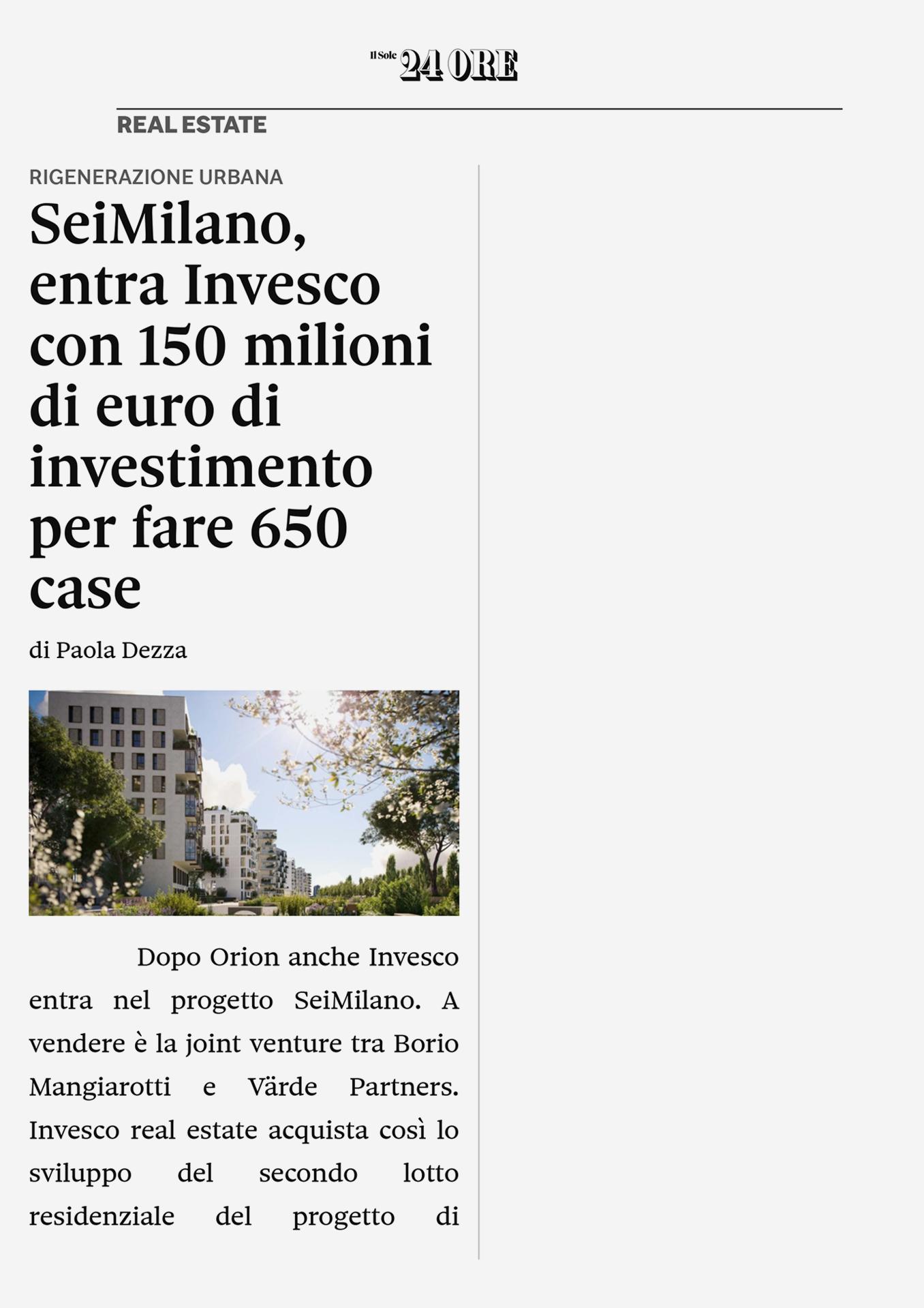 SeiMilano, venduto a Invesco Real Estate il secondo lotto residenziale