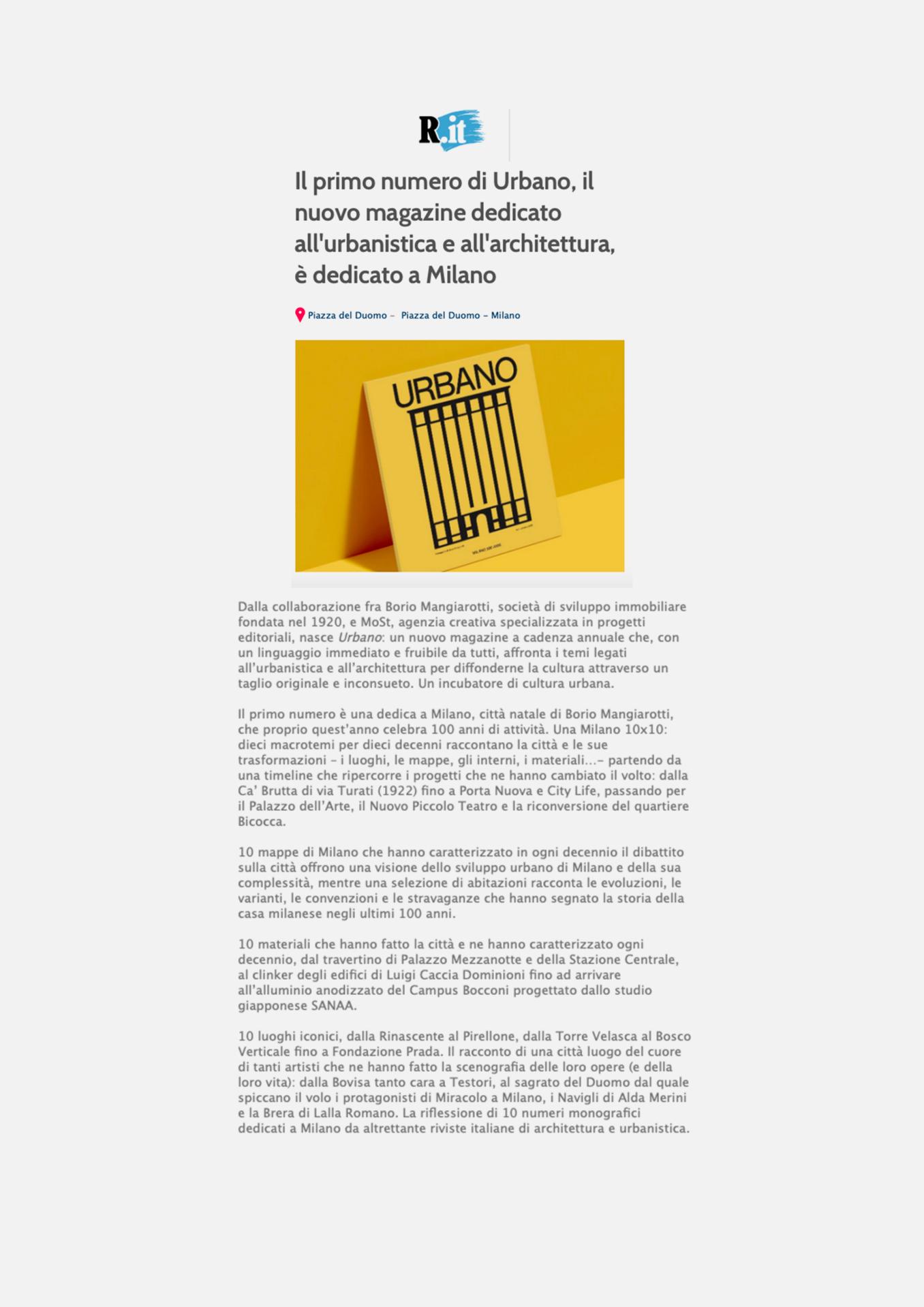 Nasce URBANO, il primo magazine dedicato all'urbanistica e all'architettura